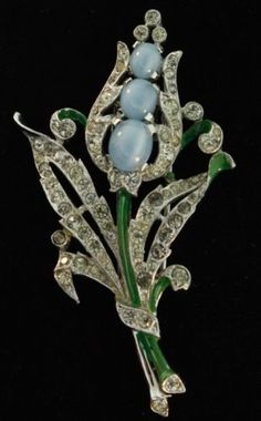 1940-Philippe-TRIFARI-Moonstone-Rhinestone-Enamel-Floral-Spray-Pin-Fur-Clip