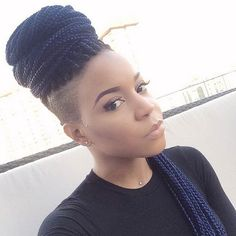 Box Braids High Bun + Shaved Sides