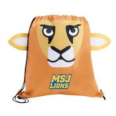 The Custom Branded Paws & Claws Lion Drawstring Backpack has a lion face with fun 3-dimentional features, double drawcord closure, and a large imprint area