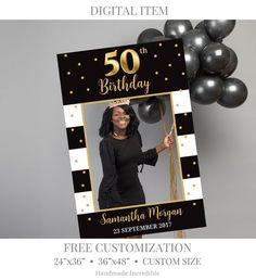 BIrthday Photo Prop Template, Printable Gold Photo Booth, Birthday Selfie Frame, Custom Photo Prop Printable, Any Age Prop DIGITAL ITEM Or photo prop modèle anniversaire imprimable Photo Booth Moms 50th Birthday, 70th Birthday Parties, Birthday Favors, Birthday Invitations, 50th Birthday Ideas For Women, Elegant Birthday Party, Birthday Board, Birthday Diy, Birthday Cupcakes