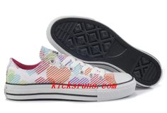Converse For Women Hearts Colorful Print White Canvas Low Tops Sneakers
