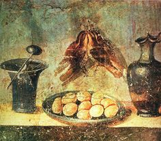 Still life with eggs, birds and bronze dishes (detail):  Roman fresco (before 79 AD) from the Praedi a of Julia Felix in Pompeii via Wikimedia Commons.