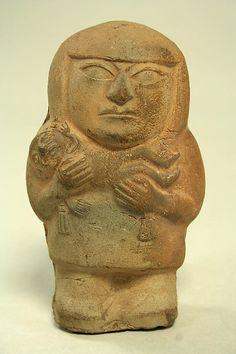 Figure of Mother Holding Child  Date:     3rd–5th century Geography:     Peru Culture:     Moche Medium:     Ceramic