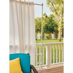 Attach this Railing Curtain Rod and Post Set to your wood or metal railing for a quick privacy solution. Use as a privacy screen or for outdoor shade. Outdoor Privacy, Outdoor Shade, Outdoor Balcony, Pergola Shade, Pergola Curtains, Outdoor Curtains, Outdoor Curtain Rods, Balcony Privacy Screen, Privacy Screens