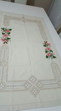 More Cross Stitch Rose, Rose Buds, Hardanger Embroidery, Bargello, Needlework, Towel, Napkins, Table Runners, Sewing