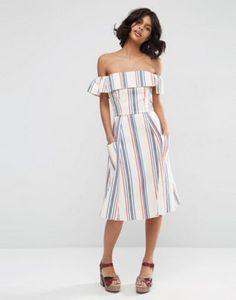 d01f7ffa2f2 ASOS Off Shoulder Stripe Sundress in Natural Fibre Summer Dresses