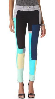 J Brand Super Skinny Colorblock Jeans