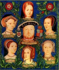 Henry VIII of England and his 6 wives- 3 Catherines, 2 Annes, and a Jane-1 divorced, 2 beheaded, 3 died, 4 divorced, 5 beheaded, 6 outlived him