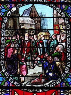 Vitral representando a história da Igreja da Abadia de Nossa Senhora da Natividade, do século XIX, em Le Buisson-de-Cadouin, departamento da Dordonha, região da Aquitânia, França.  Fotografia: Mossot.