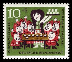 Art - Stamp Art - German - Brothers Grimm, Snow White serving drinks