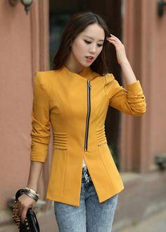 Zipper Polyester Fashionable Style Long Sleeves Lapel Collar Women's Blazer, YELLOW, L in Blazers | DressLily.com