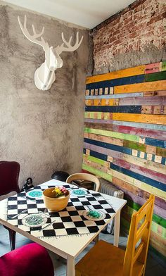 Colorful, eclectic corner. Great for games or puzzles!