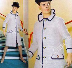 Mod Military Coat, crochet coat pattern, vintage PDF, twiggy, knee length coat, womens winter coat, contrast trim, womens mod fashion, 70s