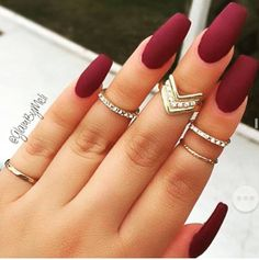 Maroon Nail Polish With Matte Top Coat! I Like The Long Length Squared Acrylics With Dark Matte Shades For Fall & Winter! The Pinky & Midi Rings She's Wearing & Accessorizing Those Fab Nails I Gotta Admit Just Scream Glam To me!