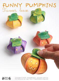 Pumpkin favor boxes Printable tiny Jack O' by PapierBonbon