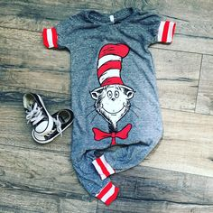 3c0a9d9bbc133 Dr Suess, baby romper, handmade baby bodysuit, baby bodysuit, custom baby  gift, trendy toddler clothes, cat in the hat, toddler romper
