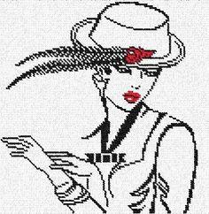 0 point de croix femme au chapeau à plumes - cross stitch lady and a hat with feather