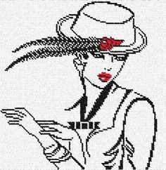 0 point de croix femme au chapeau à plumes - cross stitch lady and a hat with feather
