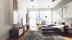 gray urban bedroom