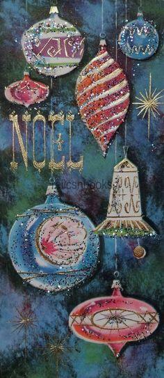 #1974 50s Glittered Mid Century Tree Ornaments-Vintage Christmas Card-Greeting