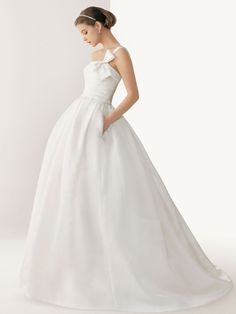 Simple Bow Tie One Shoulder Satin Ball Gown Wedding Dress with Pockets