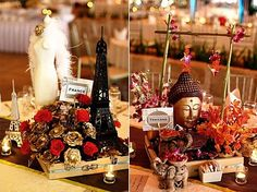 Travel Theme with each table setting and centerpieces representing different countries Travel Centerpieces, Wedding Table Centerpieces, Wedding Decorations, Event Themes, Event Decor, Party Themes, Around The World Theme, Travel Party, Travel Themes