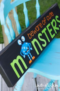 Would be so cute for classroom door in October! Beware of Cute Monsters