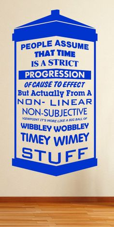 Dr Who Time Quote Wibbly Wobbly Tardis Sticker David Tennant Wall Art  (Blue): Part 94