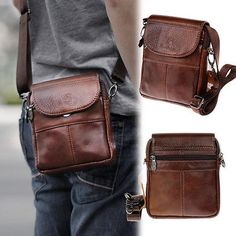 New Mens Womens Shoulder Bag Brown Genuine Leather Casual Small Bag Gift Source by erinakoopman bag gift Leather Purses, Leather Wallet, Iphone Leather Case, Messenger Bag Men, Leather Projects, Leather Working, Small Bags, Bag Sale, Backpack Bags