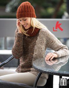 Met dit patroon kun je een damestrui breien van drie bollen Katia garen. In het patroon wordt gebruik gemaakt van mooie herfstkleuren.
