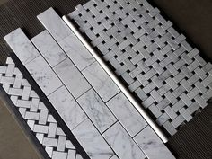 (Picture time: to start some a box of Basketweave and Basketweave Border) Bianco Carrara Basketweave packaging. Basketweave Border and Carrara Subway Tile.