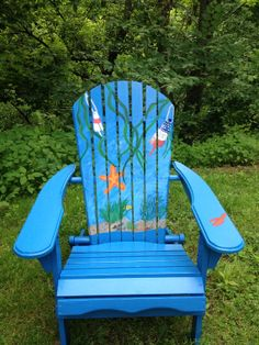 Blue Chair with Painted Starfish