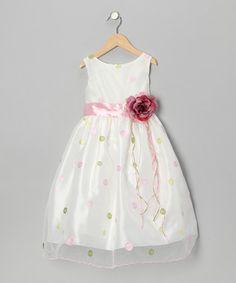 Pink & Green Polka Dot Flower Dress - Toddler & Girls