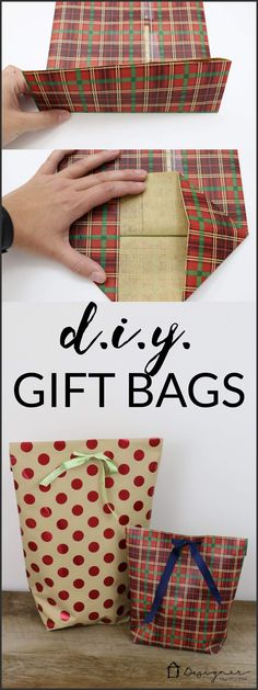 A MUST PIN FOR THE HOLIDAYS! Learn how to make a DIY gift bag from wrapping paper. It's the perfect way to wrap awkwardly shaped gifts! #giftwrapping #giftpackaging