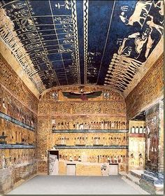 "The dynasty ruler Seti I. ""Chamber of Djed"" from the tomb of Seti I (longest tomb in the Valley of kings near Luxor) Ancient Egyptian Art, Ancient Ruins, Ancient History, Empire Romain, Egypt Art, Valley Of The Kings, Ancient Civilizations, Archaeology, Corner"