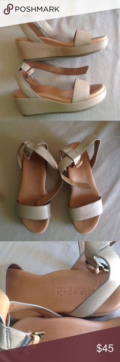 Gentle Souls tan/nude flatform/platform sandals Gentle souls by Kenneth Cole comfortable and all day wear sandals. Wedges, fllatforms or platforms. Ankle buckle adjustable straps. Nice thick comfortable footbed all leather. Use twice, in great condition Gentle Souls by Kenneth Cole Shoes Platforms