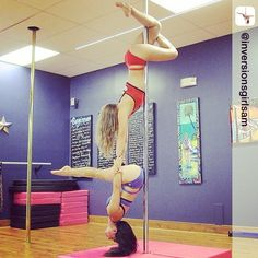 What's better than hanging upside down? Hanging upside down on your friend! Repost from @inversionsgirlsam More doubles fun with @inversionsgirlshannon in our @badkittyusa outfits!