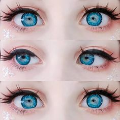 ♚Your eyes like stars and deep as the sea ✨ ♚Blue color with spot pattern make your eyes bling bling~💖 ♚Thanks sweet 💎… Anime Eye Makeup, Anime Cosplay Makeup, Cosplay Contacts, Anime Eyes, Makeup Art, Doll Eye Makeup, Kawaii Makeup, Cute Makeup, Aesthetic Eyes