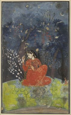Utka Nayika: A lady awaits her lover in the forest. | An example of Pahari painting (which is one of two types of Rajput painting - the other is the Rajasthani style) from the Kangra school dating between 1775-1780. The subject matter--lovers and romance popular in Rajput painting.