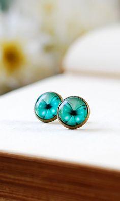 http://www.etsy.com/shop/LeChaim Teal Blue Butterfly Earrings Blue Stud Earrings by LeChaim