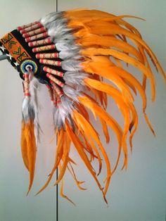 Unisex Short Orange  Indian Feathers Headdress / War Bonnet Hat (30 inch long / 75 cm)