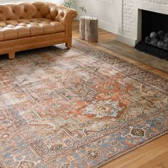 Shop Alexander Home Tremezzina Printed Medallion Distressed Blue/Rust Bohemian Rug - x - Overstock - 20508685 Cool Rugs, Rugs In Living Room, Condo Living, Apartment Living, Dining Rooms, Online Home Decor Stores, Online Shopping, Beige Area Rugs, Totems
