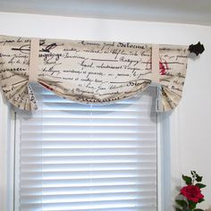 Tie Up Window Valance French Script Natural by supplierofdreams