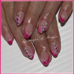 Flowers on fucshia french manicure