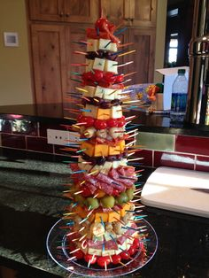 Appetizer Tree: Looks great, good idea in theory. But, I would totally be the one that topples the whole thing by pulling out a piece of cheese or something.