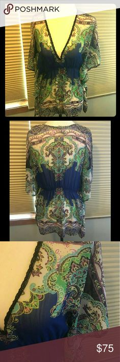 💜Shear Deep V-Neck Daytrip Blouse | EUC💜 Fun, light weight, shear (see-thru) blouse from Daytrip. Beautiful design, very versatile. Size Medium, but could fit size Small-Large. 100% Polyster. Excellent condition, no flaws!  Thanks for checking out my closet! Please let me know if you have any ❔'s at all. I'm open to ALL offers, bundle with 1 or more items and get 15% off!!  🚫 Trades Daytrip Tops Blouses