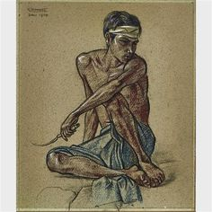 BALINESE FIELD WORKER; SKETCH OF A SEATED NUDE (A DOUBLE-SIDED DRAWING) - Rudolf Bonnet