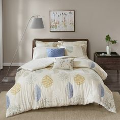 Madison Park Lina Blue Printed Cotton Flannel 7-piece Duvet Cover Set King Comforter Sets, Bedding Sets, Flannel Duvet Cover, Guest Room Decor, Cute House, Queen, California King, Studio, Duvet Cover Sets