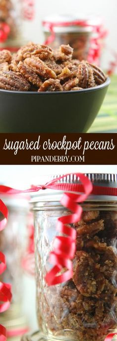 Sugared Crockpot Pecans - this is such an EASY and tasty snack to make and is a great holiday gift idea, too! #fall #food