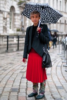 Bold, exciting & experimental. Are men in skirts the new swag ? what's your view ? #streetstyle #LFW #menswear